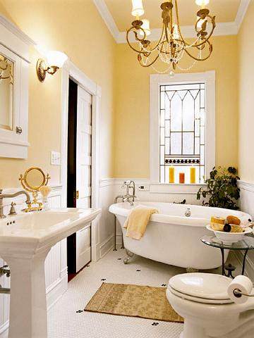 Cheerful Yellow Vintage Bath With Some Sass