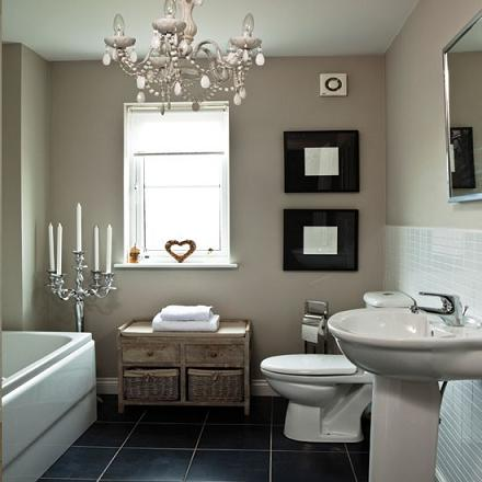 The Tiny Princess Chandelier Makes This Average Bathroom Extrarodinary