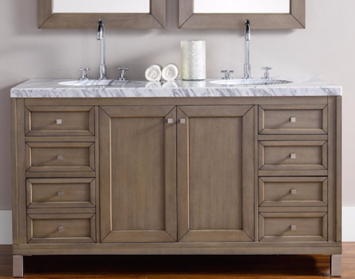 """Chicago 60"""" Double Bathroom Vanity, 305-V60d-Www by James Martin"""