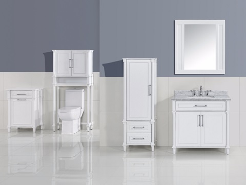 "Continental 36"" White Bathroom Vanity Cabinet Set 313ABD-36W from Deluxe Vanity"
