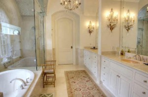 Coordinated Crystal Light Fixtures Can Add Antique Sophistication To A Bathroom With An Otherwise Relatively Neutral Design