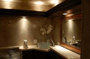Dramatic Accent And Spotlighting Can Create An Amazing Ambiance In A Guest Bath