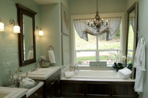 The Simple Chandelier Turns This Tub Into An Elegant, Cozy Reading Nook