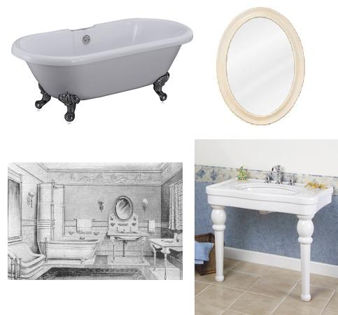 Historical Edwardian Bathroom Recreated With Matching Tub, Console Sink, And Mirror