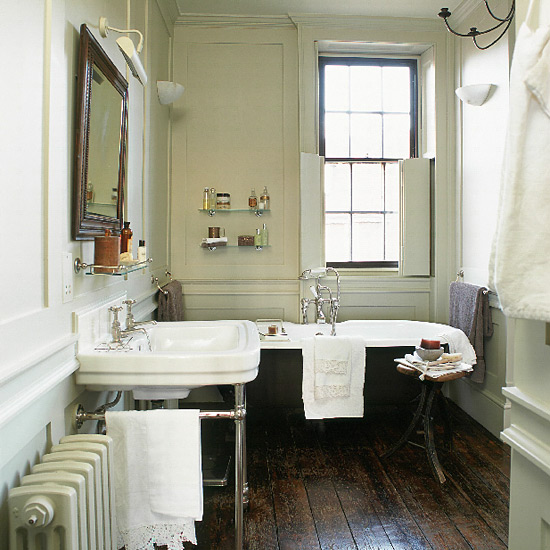 Edwardian Bathroom With Black Clawfoot Tub And Console Sink
