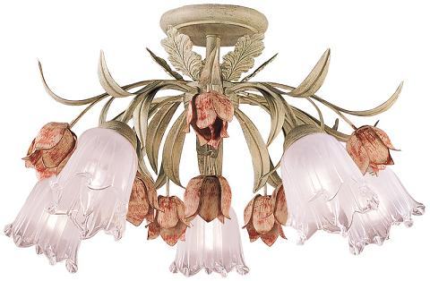 Southport Sage And Rose Wrought Iron Floral Semi Flush Lighting Fixture From Crystorama