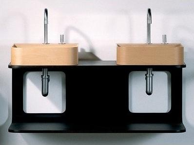 Aeri Double Shelf Wood Wall Mounted Double Vanity From Whitehaus