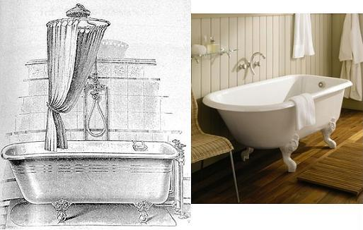 Clawfoot Tub Circa 1899 Next To Contemporary Cast Iron Clawfoot