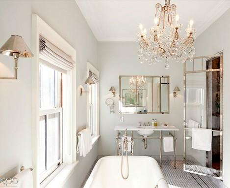 This Simple Vintage Bath Is Majorly Spiced Up With An Antique Crystal Chandelier