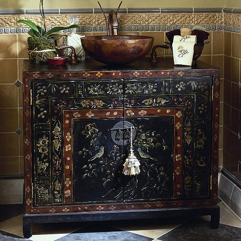 Travel Chest Oriental Hand Painted Bathroom Vanity From Cole And Co