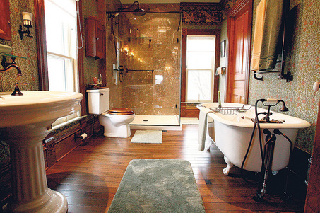 Victorian Bathrooms Were Darker Than Modern Ones, With Bold Patterns And Lots Of Texture