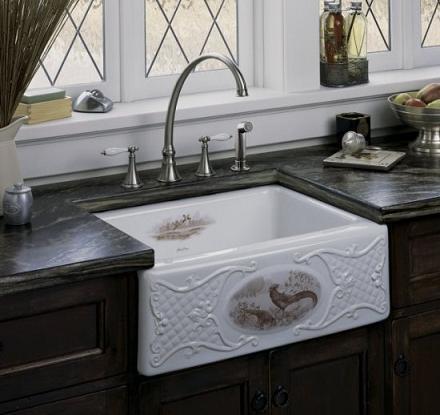 Tidings Game Birds Design On Alcott Fireclay Sink From Kohler