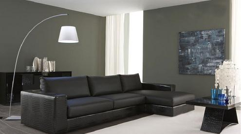 Nightfly Black Sectional Sofa With Chaise Lounge From Rossetto
