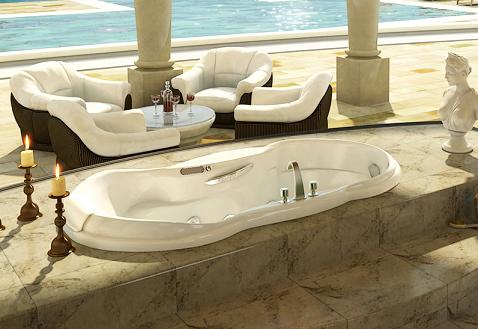 Palace Drop In Tub With Marble Tile Mount From MAAX