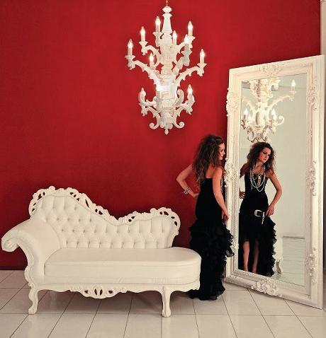White Divan, Mirror, And Chandelier From PolArt