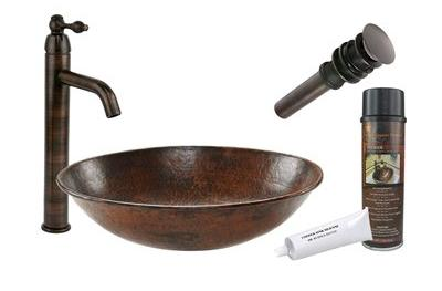 Wired Rim Hammerd Copper Vessel Sink And Faucet From Premier Copper Products