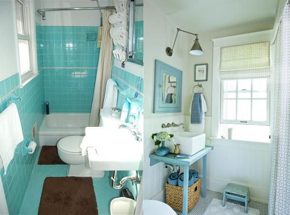Original 1964 Turquoise Bathroom (Left) vs A Modern Turquoise Bath (Right)