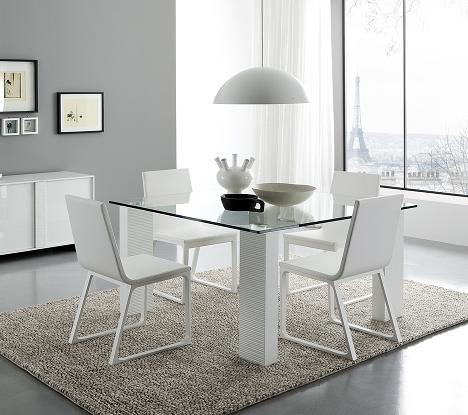 Stripe White Gl Dining Table From Rossetto