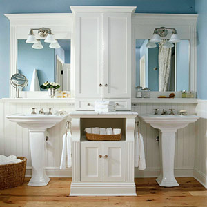 Symmetrical Pedestal Sinks Make For An Elegant Turn Of The Century Bathroom