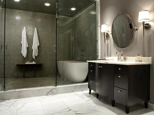 This Elegant Bathroom Combines The Bathtub With A Huge Walk-In Steam Shower, Making The Most Of The Space
