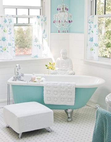 Vintage Bathroom With Turquoise Clawfoot And Paint