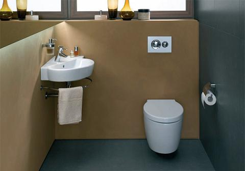 Water Closet With Wall Mounted Sink