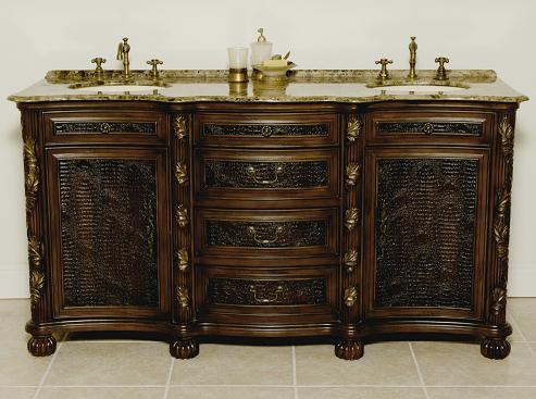 Canterbury Mahogany Bathroom Vanity With Gilt Detailing From B and I Direct