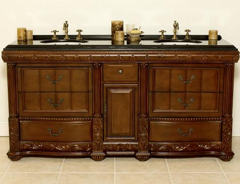 Stockton Mahogany Bathroom Vanity With Ornate Antique Hardware From B And I Direct