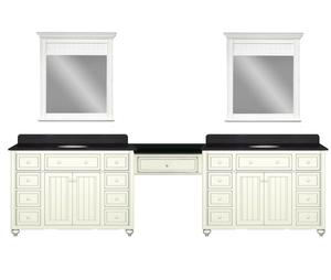 120 Inch Double Bathroom Vanity With Makeup Station From Sagehill Designs