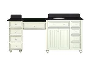 72 Inch Bathroom Vanity With Makeup Station From Sagehill Designs Cottage Retreat Collection
