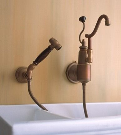 De Dion Wall Mounted Kitchen Faucet With Sprayer From Herbeau