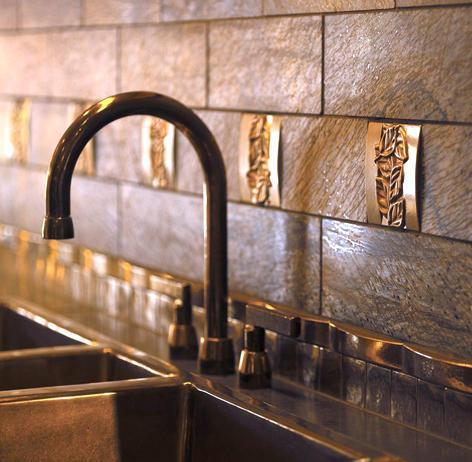 Decorative Bronze Backsplash Accents (by Rocky Mountain Hardware via HGTV)