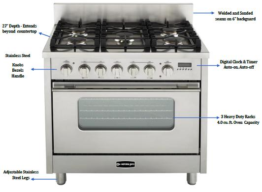Dual Fuel Kitchen Range From Verona Pro By EuroChef