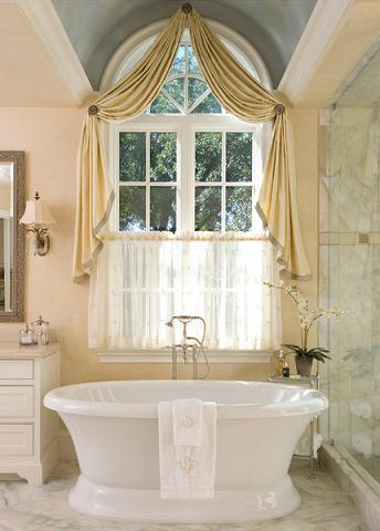 French Country Style Bathroom With Curtained Windows Design By Astleford Interiors, Photo by Dan Piassick