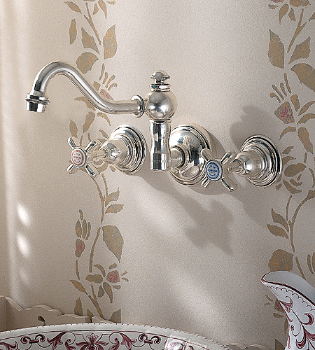 Royale Double Handle Widespread Wall Mounted Bathroom Faucet With Metal Cross Handles From Herbeau
