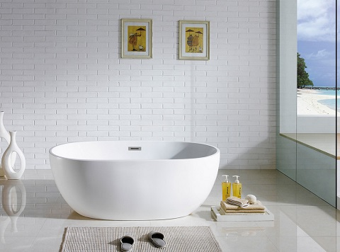 Tropicana 60x30 Oval Soaking Tub PBT-TROPICANA_6030-CR by Pacific Collection