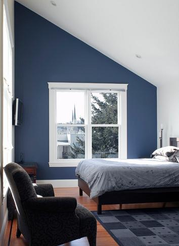 Blue Bedroom With Cathedral Ceiling (by Andre Rothblatt Architecture)