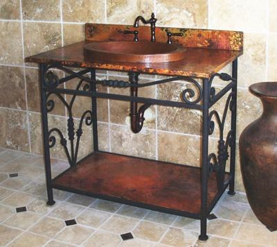 Charlotte Copper And Wrought Iron Bathroom Vanity And Sink From Sierra Copper