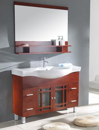 Cherry Modern Bathroom Vanity With Ledge Mirror From Legion Furniture