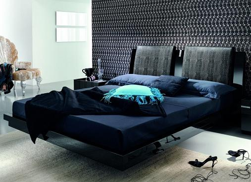 Diamond Black Floating Platform Bed From Rossetto