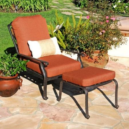 Florence Adjustable Outdoor Chair With Ottoman From Caluco