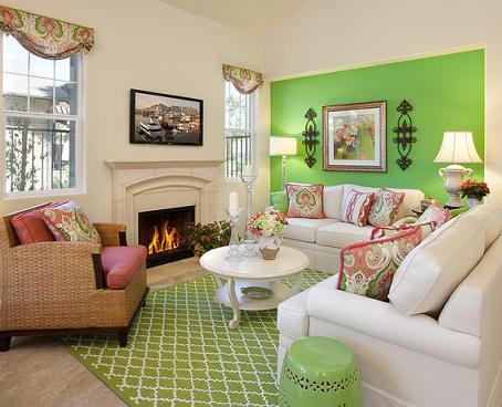 Lime Green Living Room Accent Wall (By Borden Interiors And Associates, photo by Jim Bartsch)