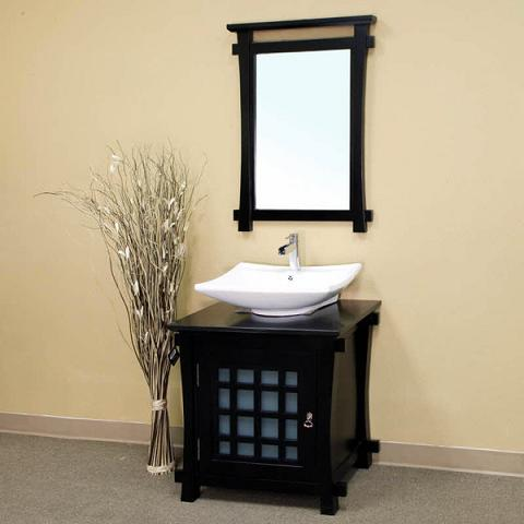 Pagoda Style Bathroom Vanity And Mirror From Bellaterra Home