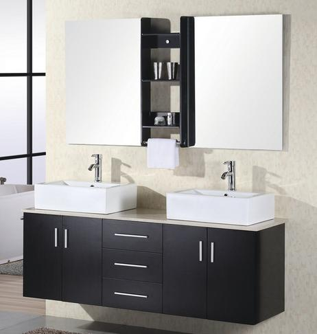 Portland Double Vanity With Twin Mirrors And Shelf Bridge From Design Element