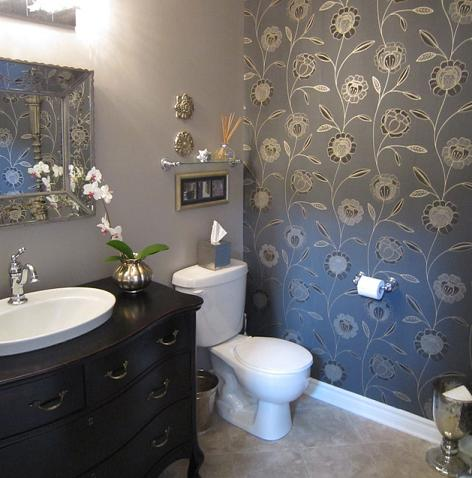 Powder Room Wallpaper Accent Wall (by Lisa Goulet Design)