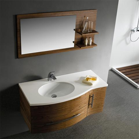 Walnut Wall Mounted Bathroom Vanity And Matching Mirror From Vigo Industries