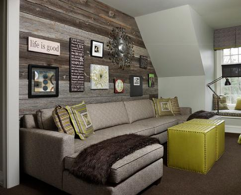 Weathered Wood Accent Wall (by AMW Design Studio)