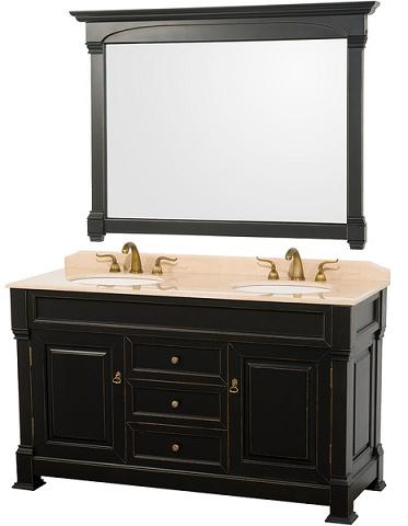 Andover Bathroom Vanity WIth Matching Mirror And Marble Vanity Top From The Wyndham Collection