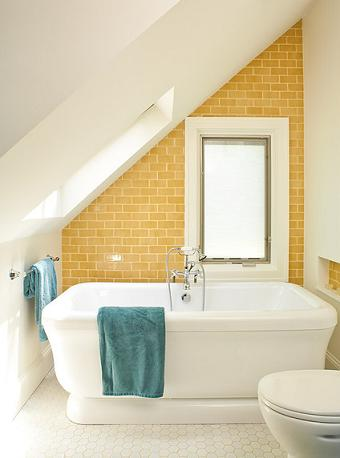 Bright Yellow Tile Turns This Unfortunate Architecture Into A Gorgeous Accent (by Renewal Design-Build)