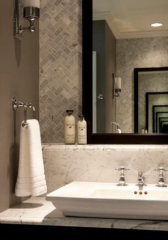 Carrara Herringbone Pattern Marble Wall Tile (by Michael Abrams Limited)